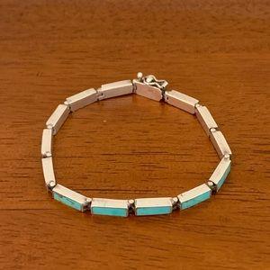 Vintage Jewelry - Vintage Sterling 925 Turquoise Link Bracelet